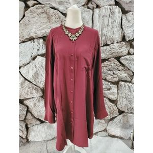 Eileen Fisher Long Sleeve Tunic Burgundy 100% Silk
